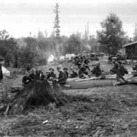 Soldiers taking a break, Fort Lawton
