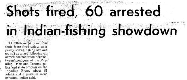 "Associated Press - ""Shots fired, 60 arrested in Indian-fishing showdown"""