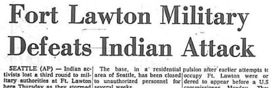 "Associated Press - ""Fort Lawton Military Defeats Indian Attack"""