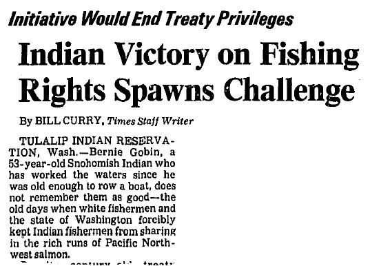 "Los Angeles Times - ""Indian Victory on Fishing Rights Spawns Challenge"""