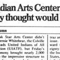 """Seattle Weekly - """"The Indian Arts Center that nobody thought would happen"""""""